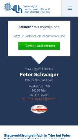 Vorschau der mobilen Webseite www.vlh.de, Vereinigte Lohnsteuerhilfe Beratungsstelle Trier