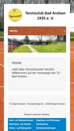Vorschau der mobilen Webseite www.tc-bad-arolsen.de, TC Bad Arolsen
