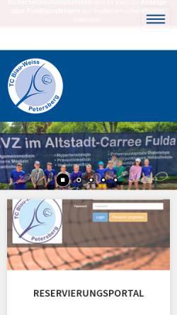 Vorschau der mobilen Webseite www.tc-blauweiss-petersberg.de, TC Blau-Weiß Petersberg e.V. 1971