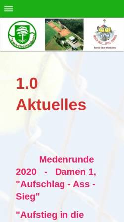 Vorschau der mobilen Webseite www.tennisclub-waldsolms.de, Tennisclub Waldsolms