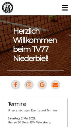 Vorschau der mobilen Webseite tv-niederbiel.de, TV 77 Niederbiel