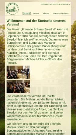 Vorschau der mobilen Webseite www.stiftung-schloss-biesdorf.de, Stiftung Ost-West-Begegnungsstätte Schloss Biesdorf e.V.