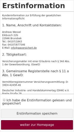 Vorschau der mobilen Webseite www.awversichert.de, AWversichert Versicherungsmakler, Inh. Andreas Wessel