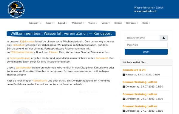 Vorschau von www.paddeln.ch, Wasserfahrverein Zürich (WVZ)