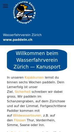 Vorschau der mobilen Webseite www.paddeln.ch, Wasserfahrverein Zürich (WVZ)
