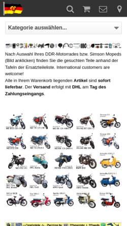 Vorschau der mobilen Webseite www.ddr-motorrad.de, DDR Motorrad