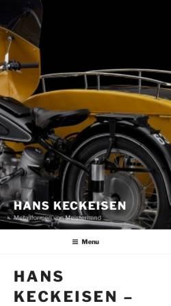 Vorschau der mobilen Webseite www.hanskeckeisen.de, Hans Keckeisen - Metallformen von Meisterhand