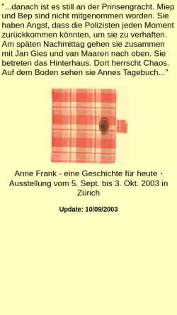Vorschau der mobilen Webseite www.kugelbahn.ch, Anne Frank - eine Geschichte für heute