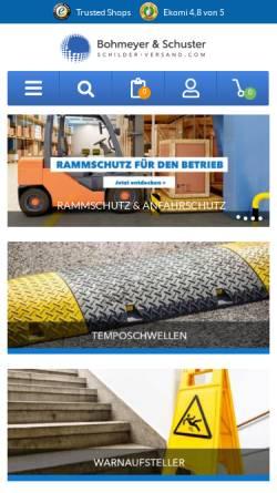 Vorschau der mobilen Webseite www.schilder-versand.com, Bohmeyer & Schuster GmbH