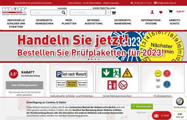Vorschau von www.schilder-klar.de, Heinrich Klar Schilder- und Etikettenfabrik GmbH & Co. KG