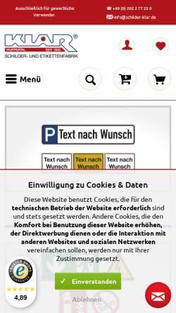 Vorschau der mobilen Webseite www.schilder-klar.de, Heinrich Klar Schilder- und Etikettenfabrik GmbH & Co. KG