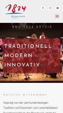 Vorschau der mobilen Webseite www.buergermusik-goetzis.at, Bürgermusik Götzis 1824