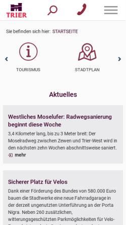 Vorschau der mobilen Webseite www.trier.de, Zukunft Trier 2020