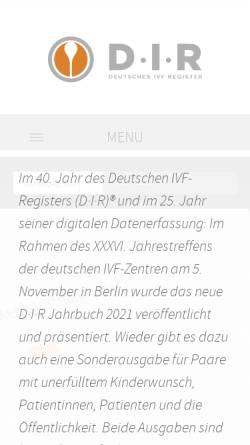 Vorschau der mobilen Webseite www.deutsches-ivf-register.de, D-I-R Deutsches IVF Register