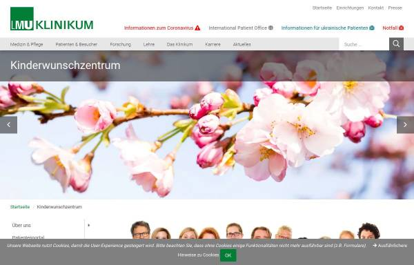 Vorschau von www.kinderwunsch-uni-muenchen.de, Kinderwunschambulanz der Frauenklinik im Klinikum München Großhadern