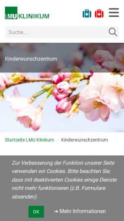 Vorschau der mobilen Webseite www.kinderwunsch-uni-muenchen.de, Kinderwunschambulanz der Frauenklinik im Klinikum München Großhadern