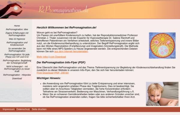 Vorschau von www.repromagination.de, RePromagination - Tiefenentspannung und Hypnose zur Unterstützung der Kinderwunschbehandlung
