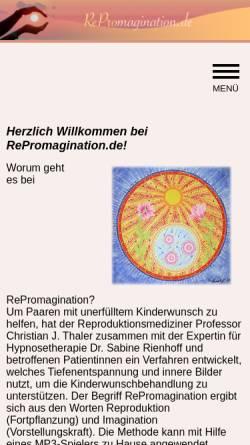 Vorschau der mobilen Webseite www.repromagination.de, RePromagination - Tiefenentspannung und Hypnose zur Unterstützung der Kinderwunschbehandlung