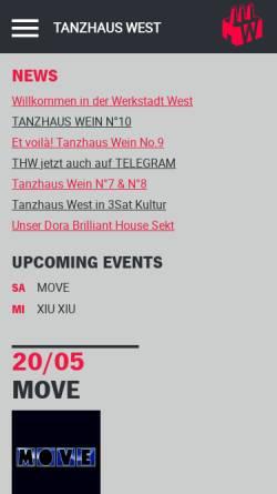 Vorschau der mobilen Webseite tanzhaus-west.de, Tanzhaus West
