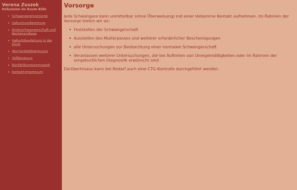 Vorschau von www.hebamme-koeln.de, Hebamme Verena Zuszek