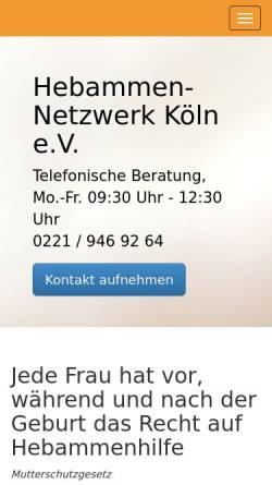 Vorschau der mobilen Webseite www.hebammennetzwerk-koeln.de, Hebammen Netzwerk Köln e.V.