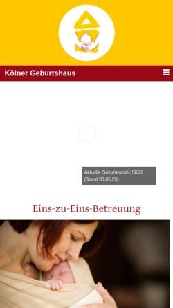 Vorschau der mobilen Webseite www.koelner-geburtshaus.de, Kölner Geburtshaus e.V.