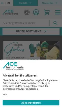 Vorschau der mobilen Webseite www.ace-technik.de, ACE Handels- und Entwicklungs GmbH