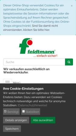 Vorschau der mobilen Webseite www.feldtmann.de, Helmut Feldtmann KG