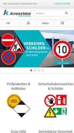 Vorschau der mobilen Webseite www.kroschke.com, Kroschke Sign-International GmbH