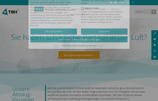 Vorschau von www.tbh.eu, TBH GmbH - Absaugtechnik, Filtertechnik, Umwelttechnik