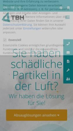 Vorschau der mobilen Webseite www.tbh.eu, TBH GmbH - Absaugtechnik, Filtertechnik, Umwelttechnik