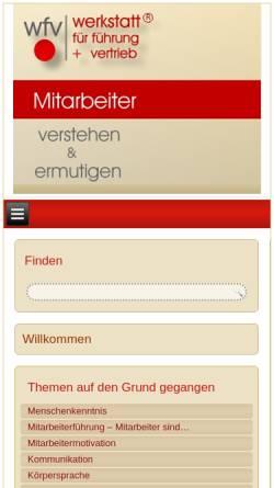 Vorschau der mobilen Webseite www.erfolgs-werkstatt.de, Wfv werkstatt für führung + vertrieb - Volker Kampehl