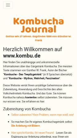 Vorschau der mobilen Webseite www.kombu.de, Kombucha Journal von Günther W. Frank