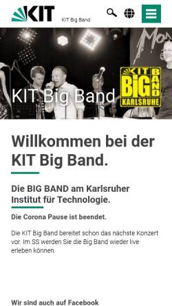 Vorschau der mobilen Webseite www.bigband.kit.edu, Uni Big Band Karlsruhe