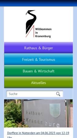 Vorschau der mobilen Webseite www.kranenburg.de, Gemeinde Kranenburg