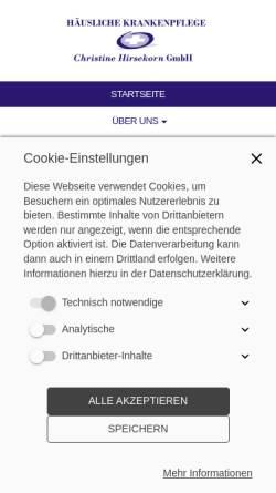 Vorschau der mobilen Webseite www.pflegedienst-hirsekorn.de, Häusliche Krankenpflege - Christine Hirsekorn