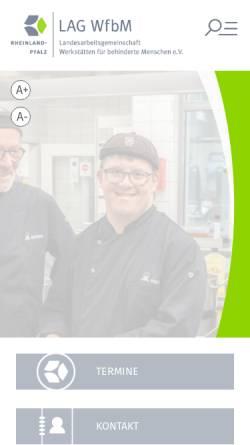 Vorschau der mobilen Webseite www.lag-wfbm-rlp.de, Landesarbeitsgemeinschaft Werkstätten für behinderte Menschen