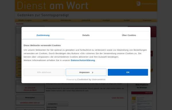 Vorschau von www.dienst-am-wort.de, Erprobte Gottesdienstmodelle von Praktikern für Praktiker