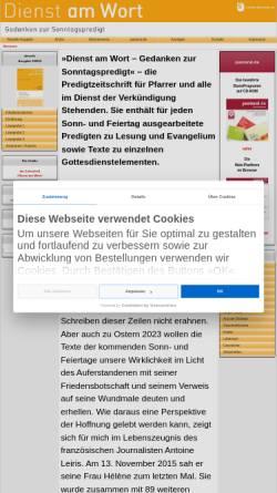 Vorschau der mobilen Webseite www.dienst-am-wort.de, Erprobte Gottesdienstmodelle von Praktikern für Praktiker