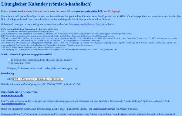 Vorschau von www.salesianer.de, Liturgischer Kalender