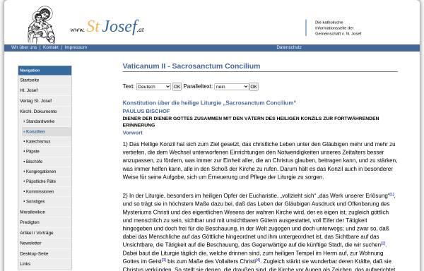 Vorschau von www.stjosef.at, Sacrosanctum Concilium