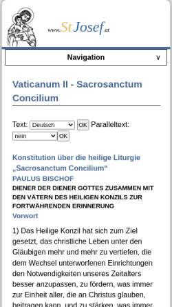 Vorschau der mobilen Webseite www.stjosef.at, Sacrosanctum Concilium