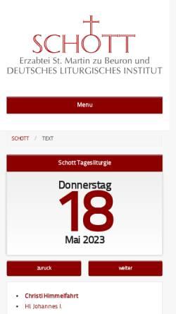 Vorschau der mobilen Webseite erzabtei-beuron.de, Schott-Messbuch