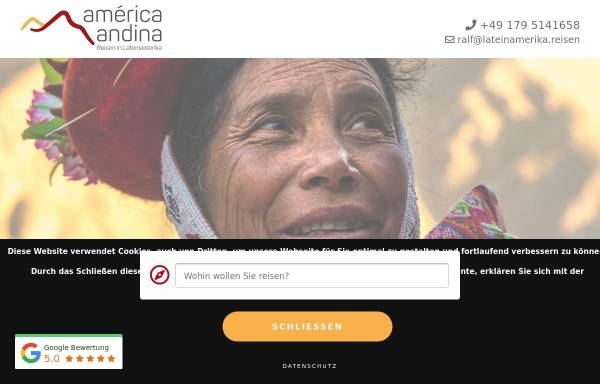 Vorschau von www.america-andina.de, America Andina - Reisen in Lateinamerika