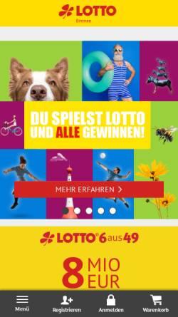 Vorschau der mobilen Webseite www.lotto-bremen.de, Bremer Toto Lotto GmbH