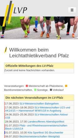 Vorschau der mobilen Webseite www.lv-pfalz.de, Leichtathletikverband Pfalz e.V.
