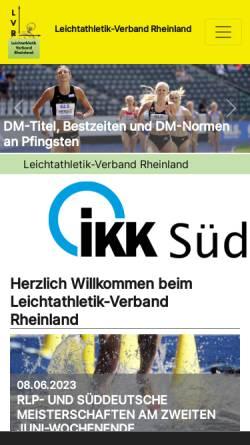 Vorschau der mobilen Webseite www.lvrheinland.de, Leichtathletik-Verband Rheinland e.V.