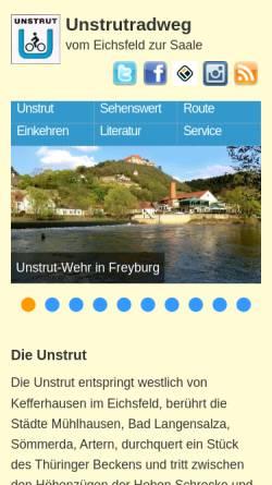 Vorschau der mobilen Webseite www.unstrutradweg.de, Der Unstrutradweg