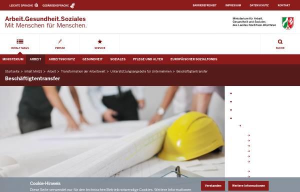 Vorschau von www.beschaeftigtentransfer.nrw.de, Beschäftigungssicherung und Beschäftigtentransfer NRW
