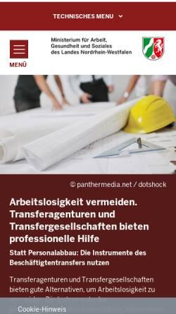 Vorschau der mobilen Webseite www.beschaeftigtentransfer.nrw.de, Beschäftigungssicherung und Beschäftigtentransfer NRW